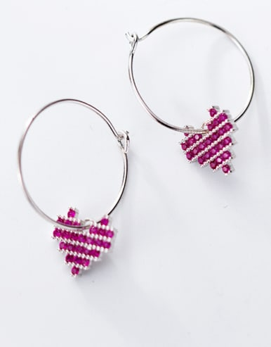 925 Sterling Silver With Platinum Plated Delicate Heart Hoop Earrings