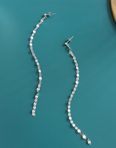 925 Sterling Silver  Trendy Chain Drop Earrings