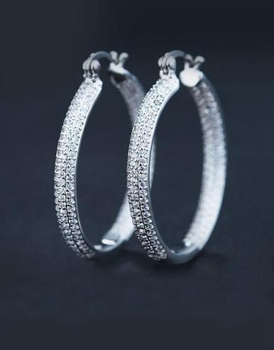 White Zircon hoop earring