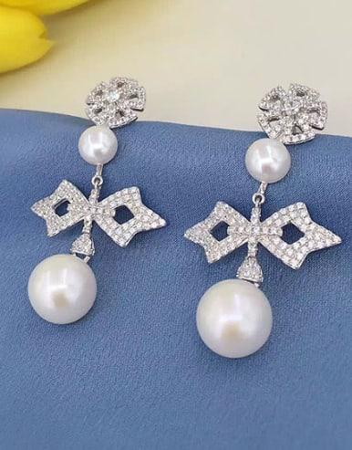 Freshwater Pearl Zircon Geometrical Chandelier earring