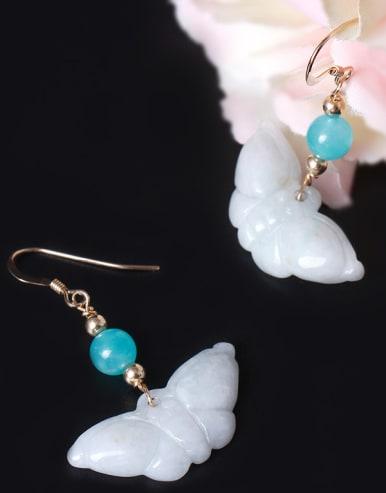 Creative Personality Jade Butterfly Hook Earrings