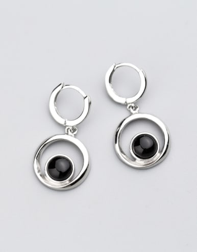 Exquisite Round Shaped Black Glue Clip Earrings