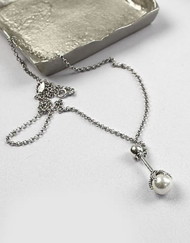 Personalized Artificial Pearl Antique Silver Plated Silver Necklace