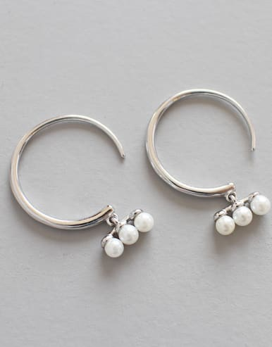 925 Sterling Silver  Imitation Pearl Trendy Round Hoop Earrings