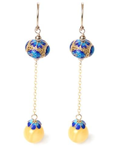 Ethnic style 925 Silver Yellow Stone Bead Enamel Earrings