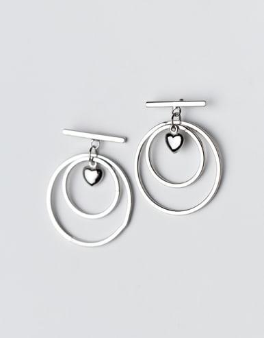 Elegant Double Round Heart Shaped S925 Silver Drop Earrings