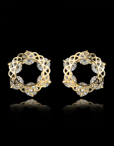 Fashion Gold Plated Zircon Stud Earrings