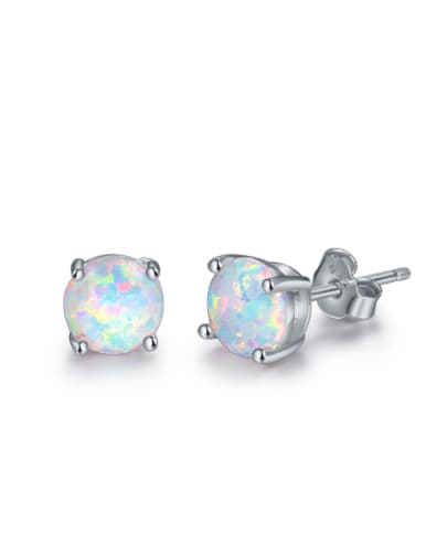 S925 Silver Opal White Plated Stud Earrings
