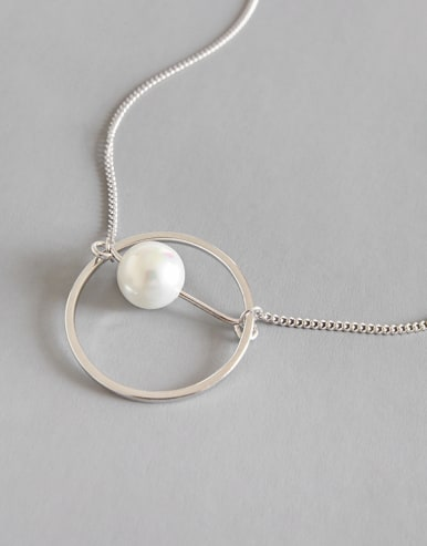 925 Sterling Silver With Platinum Plated Fashion  Imitation Pearl Necklaces