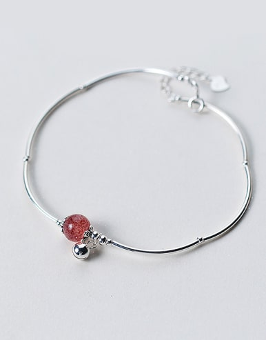 Fresh Red Round Shaped Crystal S925 Silver Ankle