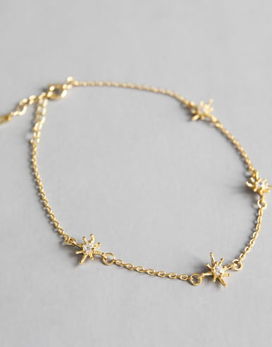 925 Sterling Silver With 18k Gold Plated Fashion Flower Bracelets