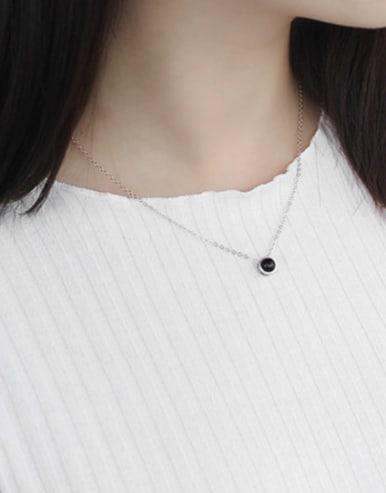 Simple Little Black Round Carnelian stone Silver Necklace
