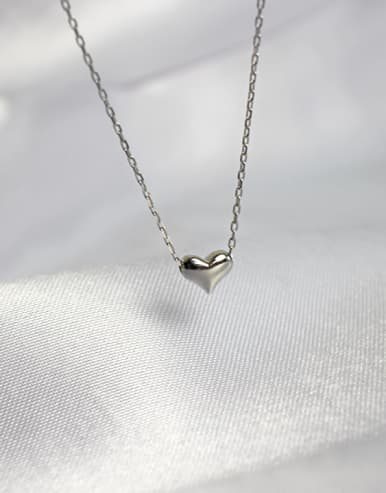 925 Sterling Silver With Platinum Plated Delicate Heart Locket Necklace