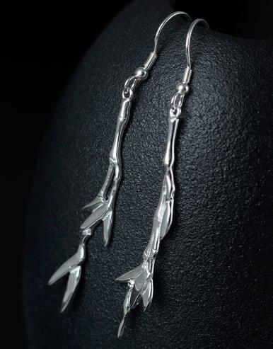 Simple 925 Silver Bamboo Leaves Earrings