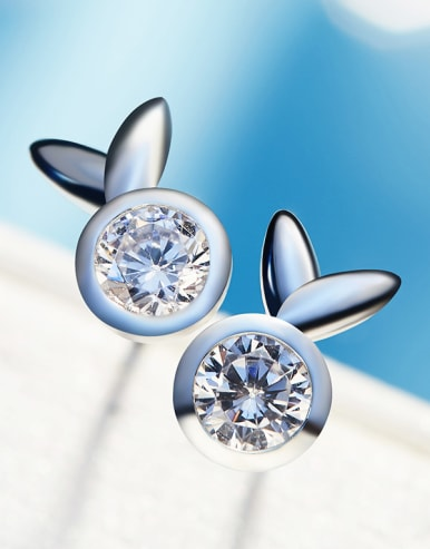 Tiny Bunny Cubic Zircon 925 Silver Stud Earrings