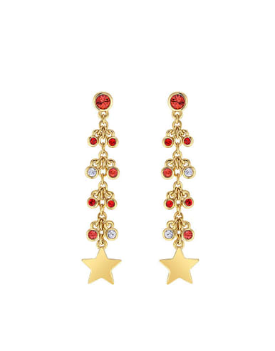 Fashion Cubic Crystals Little Star Copper Drop Earrings