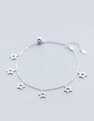 S925 silver stars hollow fashion anklet