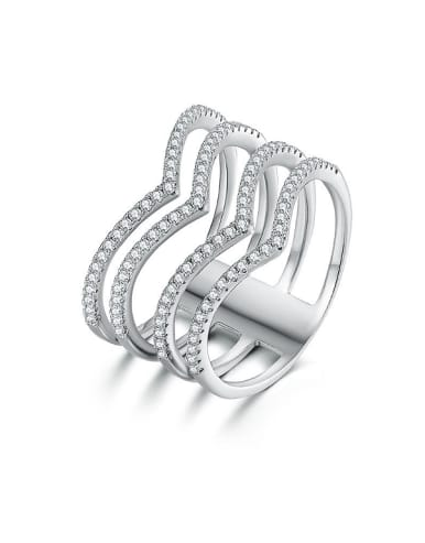 Heart-shaped Zircon Stacking Ring