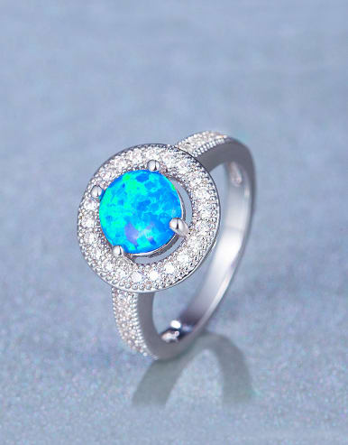 Copper Opal Stone Engagement Ring