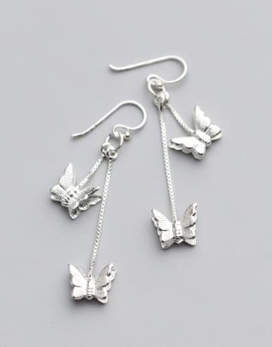 Temperament Butterfly Shaped S925 Silver Drop Earrings
