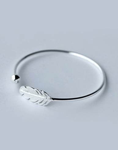 S925 Silver Artistical Feather Adjustable Opening Bangle