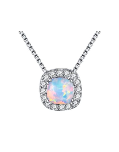 Small Square Pendant White Gold Plated Necklace