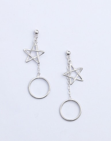 Simple Hollow Round Star 925 Silver Stud Earrings