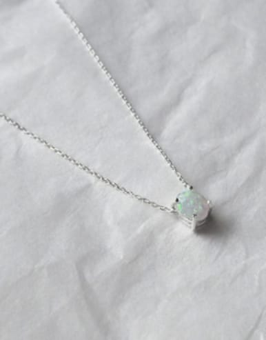Fashion Little Oval Opal stone Silver Necklace