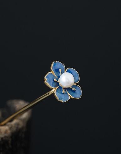 S925 Silver Enamel Flower Hair Pick