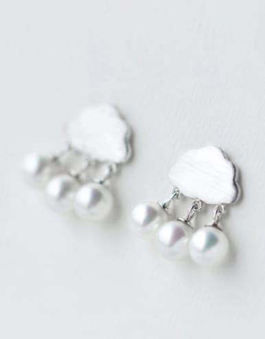 S925 silver fashion drawing cloud shell pearl drop earring