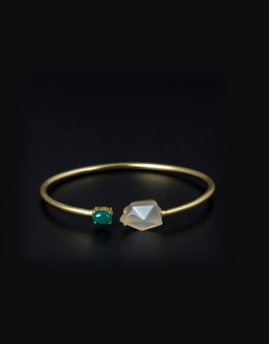 Gold Plated Stones Simple Opening Bangle