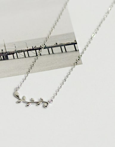 Simple Leaves Branch Pendant Silver Necklace