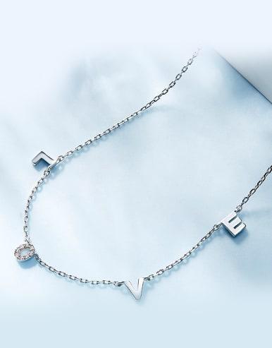 Simple LOVE Tiny Zirconias 925 Silver Necklace