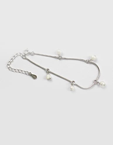 Simple White Artificial Pearls Silver Bracelet