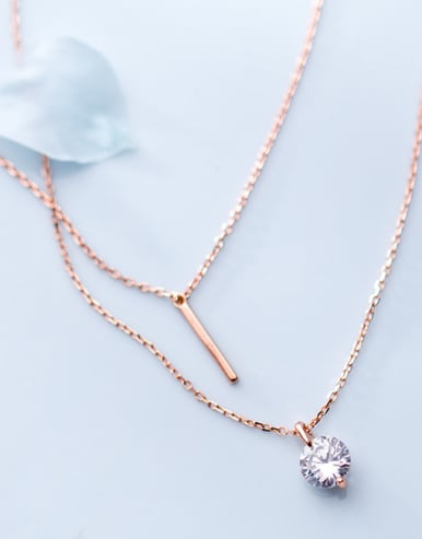925 Sterling Silver With 18k Rose Gold Plated Delicate Round Multi Strand Necklaces