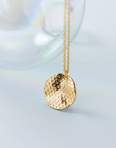 Sterling Silver Plated Gold honeycomb pattern Necklace