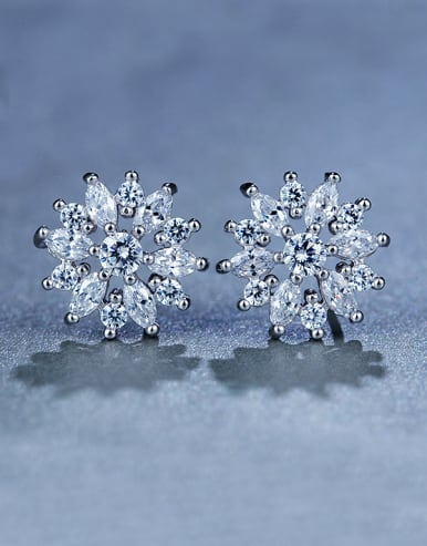 Flower Zircon Cluster earring