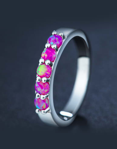 Fuchsia Opal Stone Multistone ring