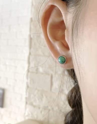 925 Sterling Silver With Turquoise Classic Round Earrings