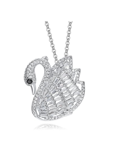 Elegant Shiny Zircon Swan Sweater Chain