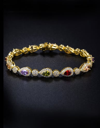 Micro-inlay zircon water-drop colorful Bracelet