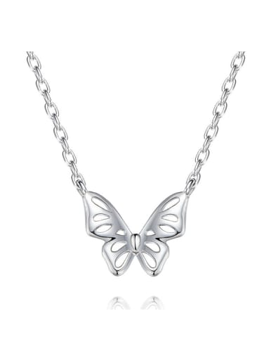 Simple Hollow Butterfly 925 Silver Necklace
