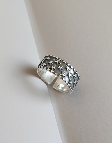 925 Sterling Silver With Antique Silver Plated Vintage Star Band Rings