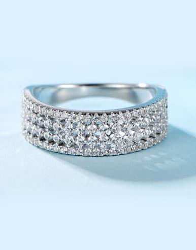 Geometric Zircon band ring