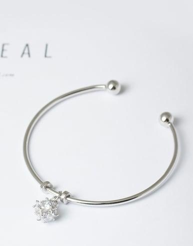 Fashion Elegant Shiny Zirconias 925 Silver Opening Bangle