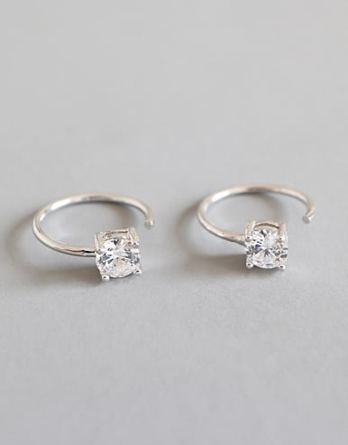 925 Sterling Silver With Platinum Plated Classic  Cubic Zirconia Hoop Earrings