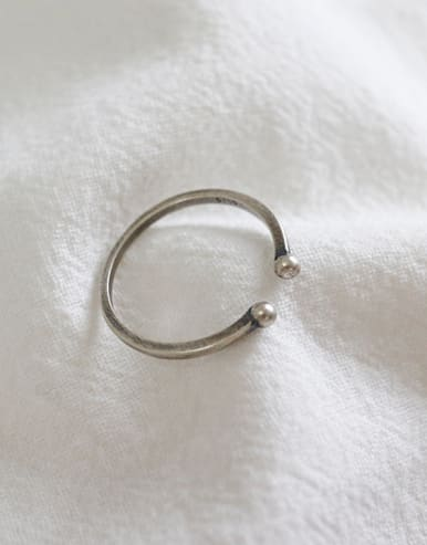 Sterling silver retro minimalist free size ring