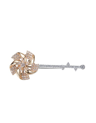 Simple Little Windmill Cubic Zircon Brooch