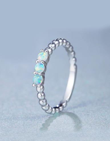 Platinum Plated Opal Stone Multistone ring