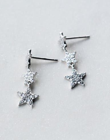 Women Shimmering Star Shaped Zircon S925 Silver Drop Earrings